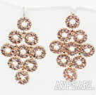 Fashion Style Multi Ring Shape Rhinestone Gold Plated Hypoallergenic Studs Earrings