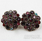 Antique Style Flower Shape Dark Red Rhinestone Studs Earrings