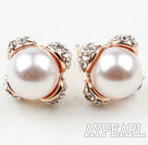 Fashion Style Immitation Round Pearl with Rhinestone Gold Plated Hypoallergenic Studs Earrings