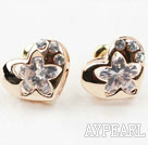 Fashion Style Heart Shape Rhinestone Gold Plated Hypoallergenic Studs Earrings