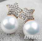 Fashion Style Immitation Round Pearl with Star Rhinestone Gold Plated Hypoallergenic Studs Earrings