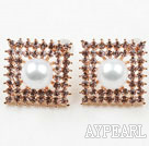 Discount Fashion Style Square Shape Rhinestone and Immitation Round Pearl Gold Plated Hypoallergenic Studs Earrings