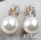 Fashion Style Immitation Round Pearl with Rhinestone Gold Plated Hypoallergenic Hoop Studs Earrings