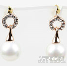 Fashion Style Immitation Round Pearl with Ring Shape Rhinestone Gold Plated Hypoallergenic Studs Earrings
