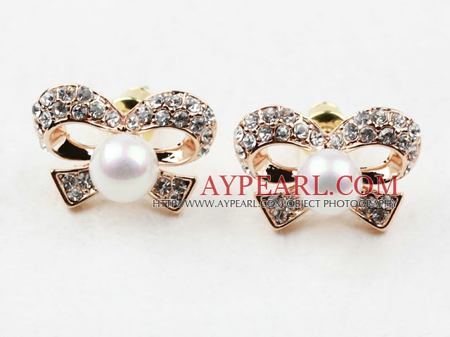 Fashion Style Immitation Round Pearl with Bow Shape Rhinestone Gold Plated Hypoallergenic Studs Earrings