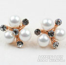 Fashion Style Immitation Round Pearl with Rhinestone Gold Plated Hypoallergenic Snowflake Studs Earrings