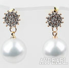 Fashion Style Immitation Round Pearl with Snowflake Rhinestone Gold Plated Hypoallergenic Studs Earrings