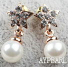 Fashion Style Immitation Round Pearl with Star Shape Rhinestone Gold Plated Hypoallergenic Studs Earrings