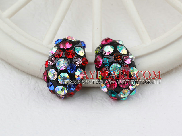 Fashion Style Ladybug Shape Multi Color Rhinstone Studs Earrings