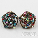 Fashion Style Irregular Shape Multi Color Rhinstone Studs Earrings