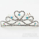 Heart Shape Alloy With Rhinestones Wedding Bridal Tiara with Combs