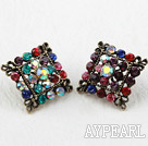 Discount Fashion Style Rhombus Shape Multi Color Rhinstone Oversized Studs Earrings