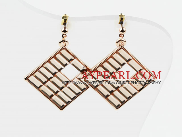 Rhombus Shape Gold Plated Hypoallergenic Studs Earrings