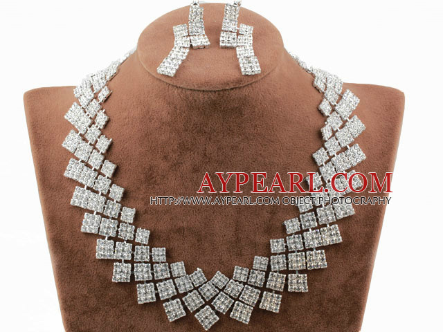 Shining Alloy With Rhinestones Wedding Bridal Jewelry Set (Necklace and Matched Earrings)
