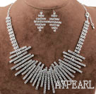 Fashion Alloy With Rhinestones Wedding Bridal Jewelry Set (Necklace and Matched Earrings)