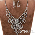 Lace Shape Fashion Alloy With Rhinestones Wedding Bridal Jewelry Set(Necklace and Matched Earrings)