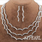 Fashion Alloy With Immitation Pearl and Rhinestones Wedding Bridal Jewelry Set(Necklace and Matched Earrings)