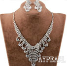 Fashion Alloy With Rhinestones Wedding Bridal Jewelry Set(Necklace and Matched Earrings)