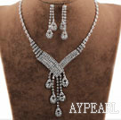 Shining Alloy With Rhinestones Wedding Bridal Jewelry Set(Necklace and Matched Long Earrings)