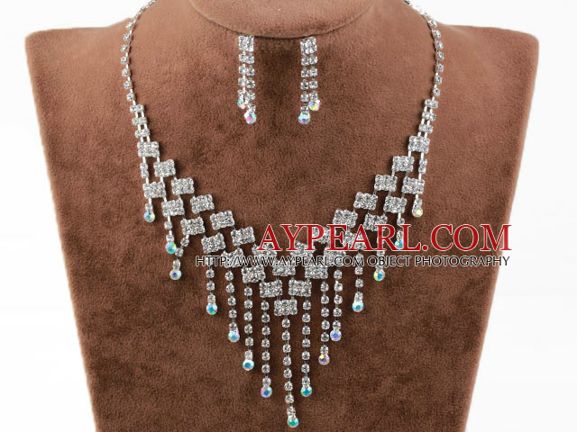 Fashion Style Alloy With Rhinestones Wedding Bridal Jewelry Set(Necklace and Matched Earrings)