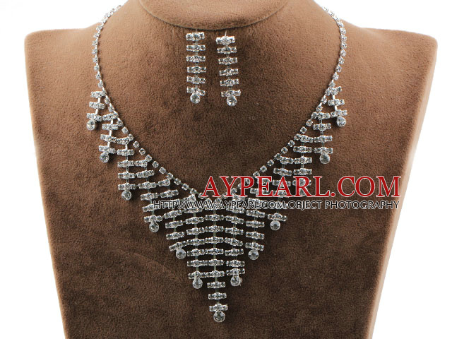 Fashion Style Alloy With Immitation Pearl and Rhinestones Wedding Bridal Jewelry Set(Necklace and Matched Earrings)