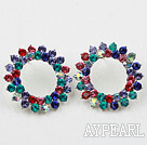Fashion Style Annulus Shape Multi Color Rhinstone Studs Earrings