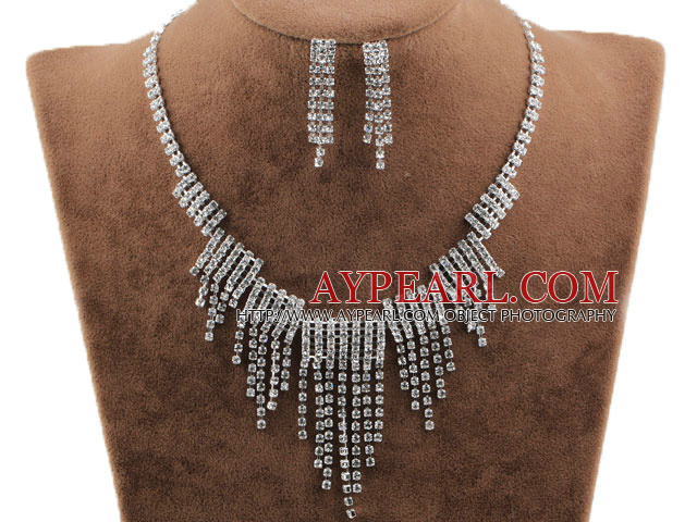 Gorgeous Alloy With Rhinestones Wedding Bridal Jewelry Set(Necklace and Matched Earrings)
