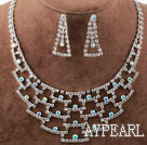 Discount Fashion Style Alloy With Rhinestones Wedding Bridal Jewelry Set(Necklace and Matched Earrings)