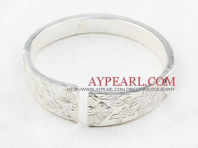 Big Style Sterling Silver(99.9% Silver) Bangle (With the Pattern of Plum Blossom, Bamboo and Chrysanthemum )