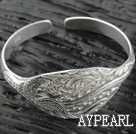 Sterling Silver(99.9% Silver) Bangle (With the Pattern of Peony and Phoenix )