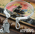 Wholesale Fashion Style Sterling Silver(99.9% Silver) Bangle with Sterling Silver Fish Shape Accessories