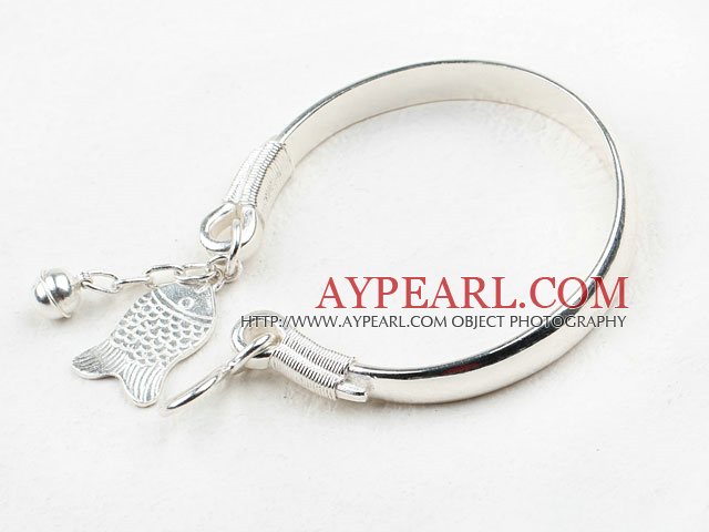 Fashion Style Sterling Silver(99.9% Silver) Bangle with Sterling Silver Fish Shape Accessories
