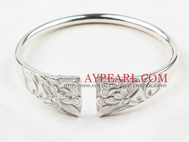 Fashion Style Sterling Silver(99.9% Silver) Bangle (With the Pattern Beautiful Flower )