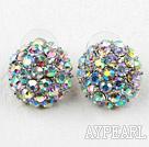 Half Ball Shape Multi Color Rhinestone Fashion Studs Earrings