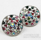 Fashion Style Round Shape Multi Color Rhinstone Hollow Studs Earrings