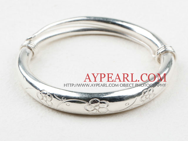 Fashion Style Sterling Silver(99.9% Silver) Bangle (With the Pattern of Plum Blossom )