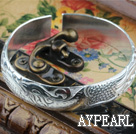 Classic Design Sterling hopea rannerengas (With Pattern Phoenixin ja Pioni)