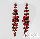 Long and Dangle Style Immitation Ruby Rhinestone Studs Earrings