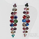 Long and Dangle Style Multi Color Rhinestone Studs Earrings