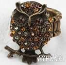 Owl Shape Bronze with Rhinestone Ring