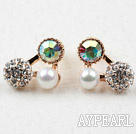 Discount Triangle Shape Gold Plated Immitation Pearl and Rhinestone Hypoallergenic Studs Earrings