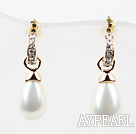 Drop Shape Immitation Pearl with Rhinestone Gold Plated Hypoallergenic Fashion Studs Earrings