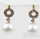 Immitation Round Pearl with Donut Shape Rhinestone Gold Plated Hypoallergenic Studs Earrings