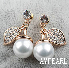 Immitation Round Pearl with Cherry Shape Rhinestone Gold Plated Hypoallergenic Studs Earrings