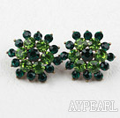Discount Flower Shape Imitation Emerald Rhinestone Studs Earrings