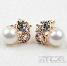 Immitation Round Pearl with Rhinestone Gold Plated Hypoallergenic Studs Earrings