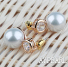 Simple Style immitation Runde Perle mit Strass Vergoldet Hypoallergen Ohrstecker