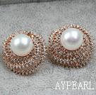 Discount Immitation Round Pearl with Hat Shape Rhinestone Gold Plated Hypoallergenic Studs Earrings