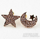 Fashion Style Star and Moon Shape Rhinestone Gold Plated Hypoallergenic Studs Earrings