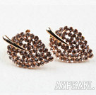 Discount Fashion Style Leaf Shape Rhinestone Gold Plated Hypoallergenic Studs Earrings